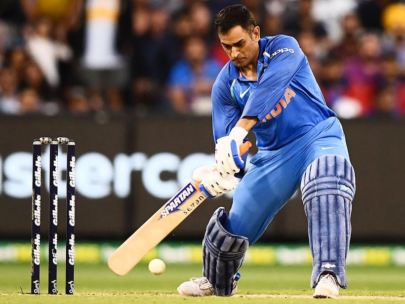 M.S. Dhoni plays a shot