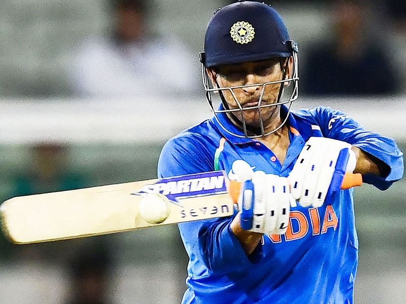 M.S. Dhoni plays a shot during the third ODI against Australia