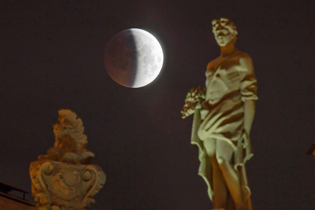 A lunar eclipse progresses