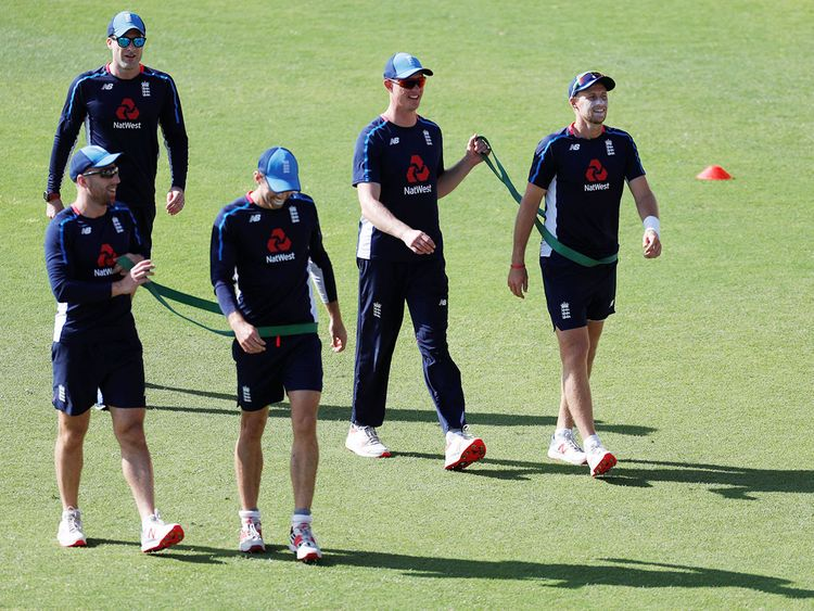 England's Joe Root, Keaton Jennings and team mates