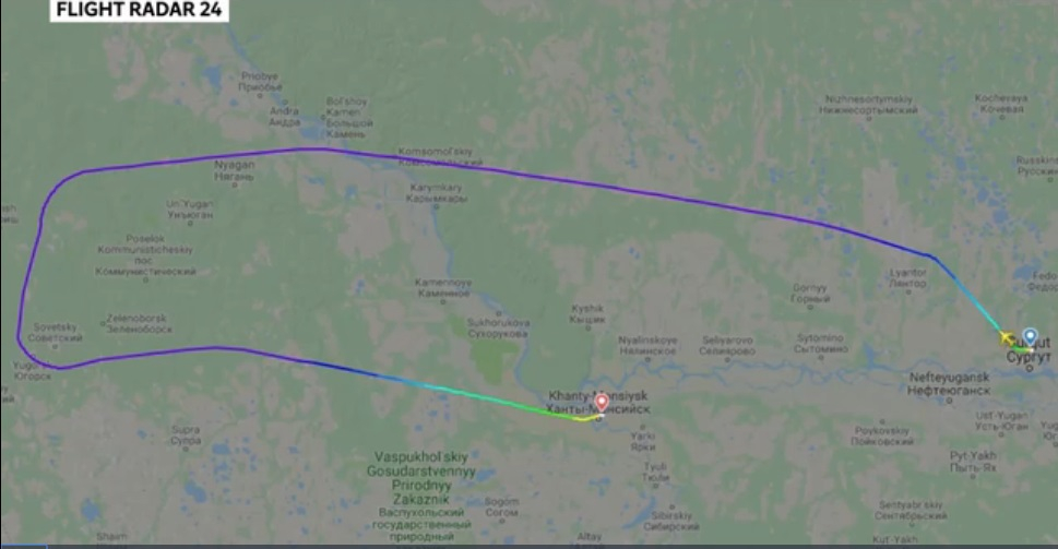 Flight path of the hijacked Aeroflot 0909