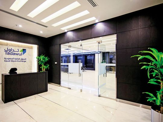 The reception area of the Saudi Stock Exchange, also known as Tadawul