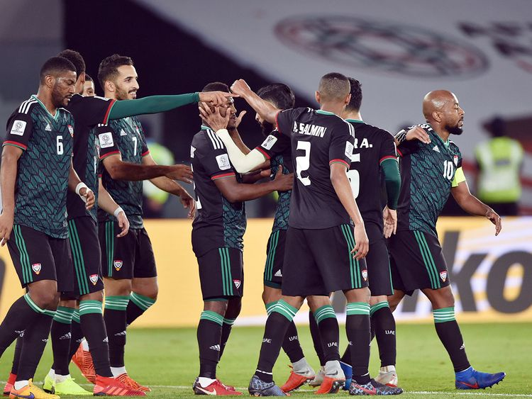 UAE players celebrating the victory against Kyrgiztan