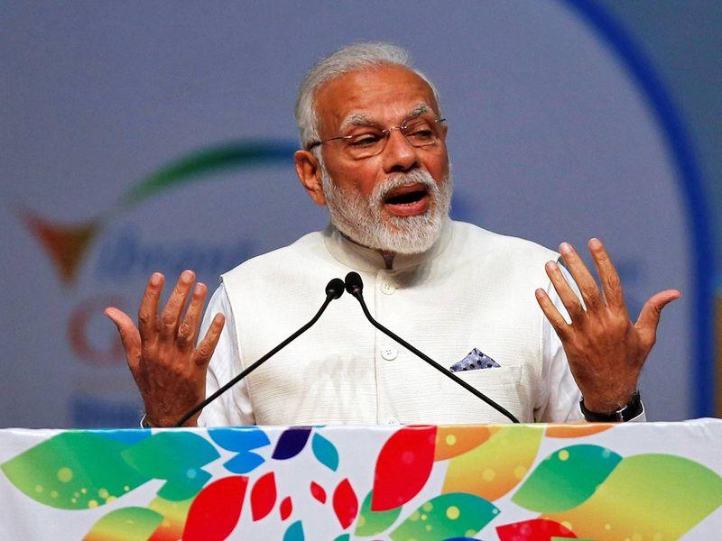 Narendra Modi speaks during the Vibrant Gujarat Global Summit 23012019