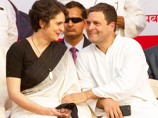 Rahul Gandhi (right) with his sister Priyanka Gandhi Vadra