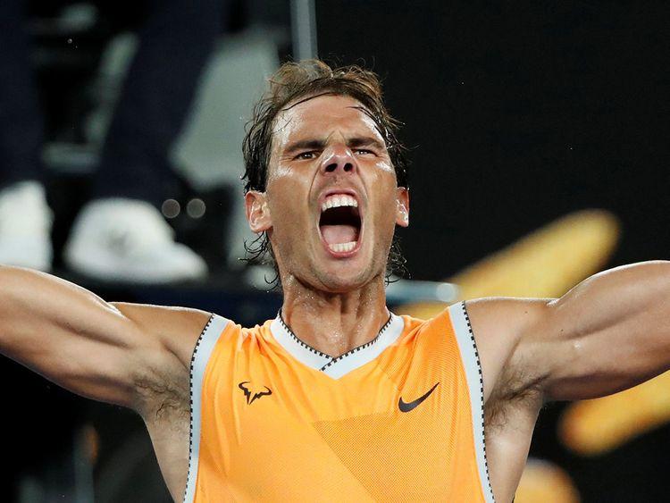 Spain's Rafael Nadal celebrates