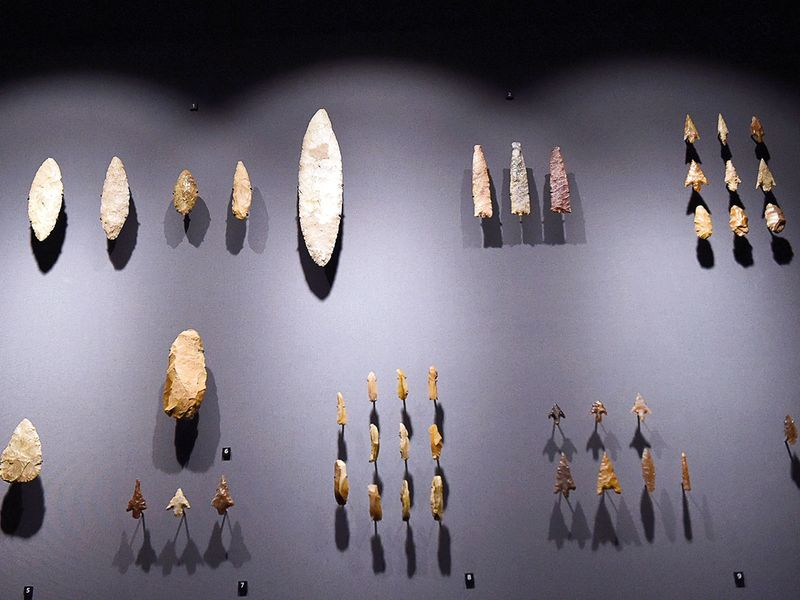 A collection of ancient scrapers and arrowheads
