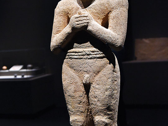 A statue of a man dating back to 2500BC from the National Museum in Riyadh.