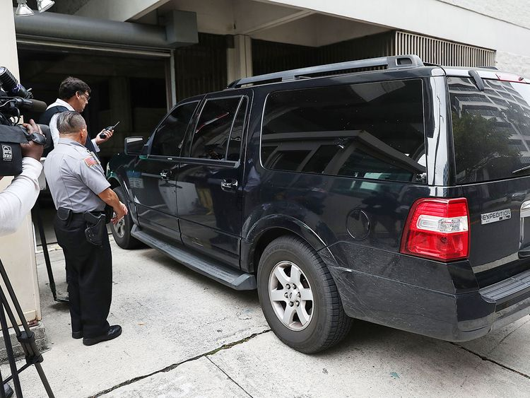 A vehicle believed to be carrying Roger Stone