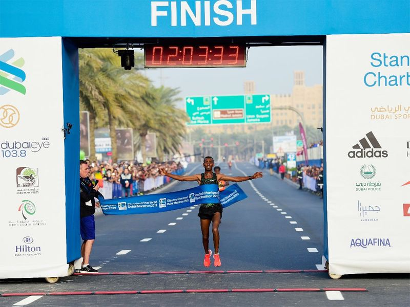 Getaneh Tamire Molla of Ethiopia crossing the finish line
