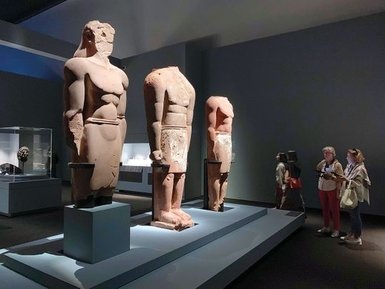 Red sandstone statues