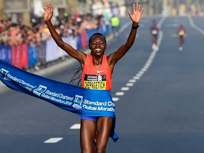 Ruth Chepngetich of Kenya Dubai Marathon