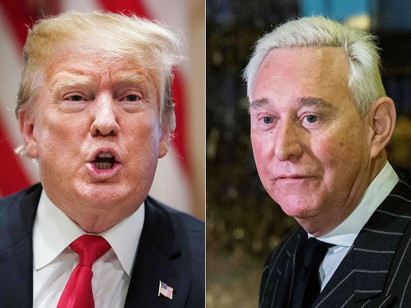 US President Donald Trump and Roger Stone.