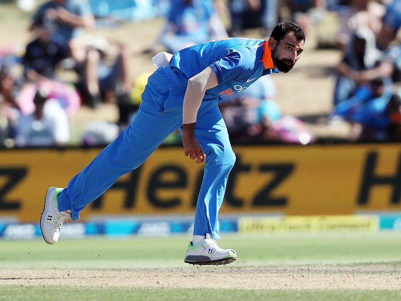 India's Mohammed Shami bowls