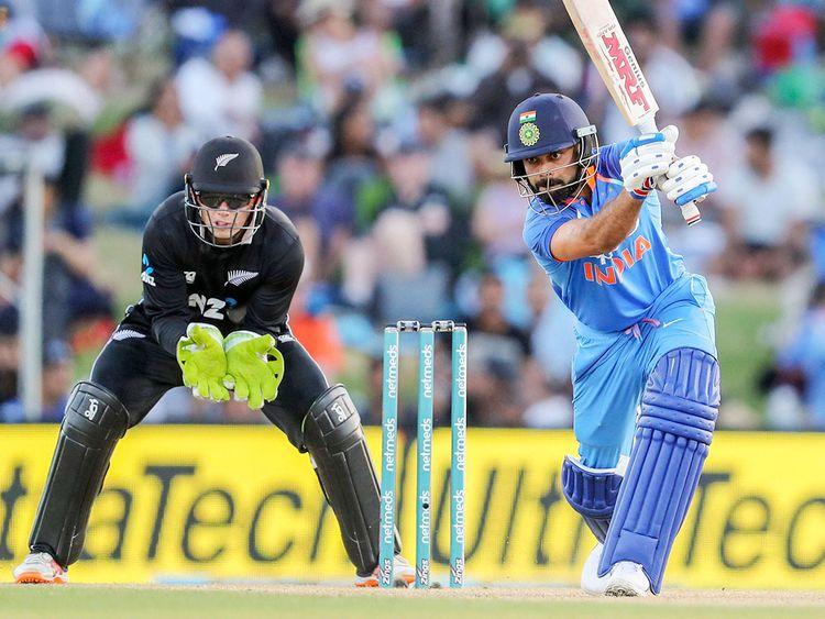 India's Virat Kohli bats against New Zealand