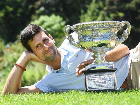Serbia's Novak Djokovic poses
