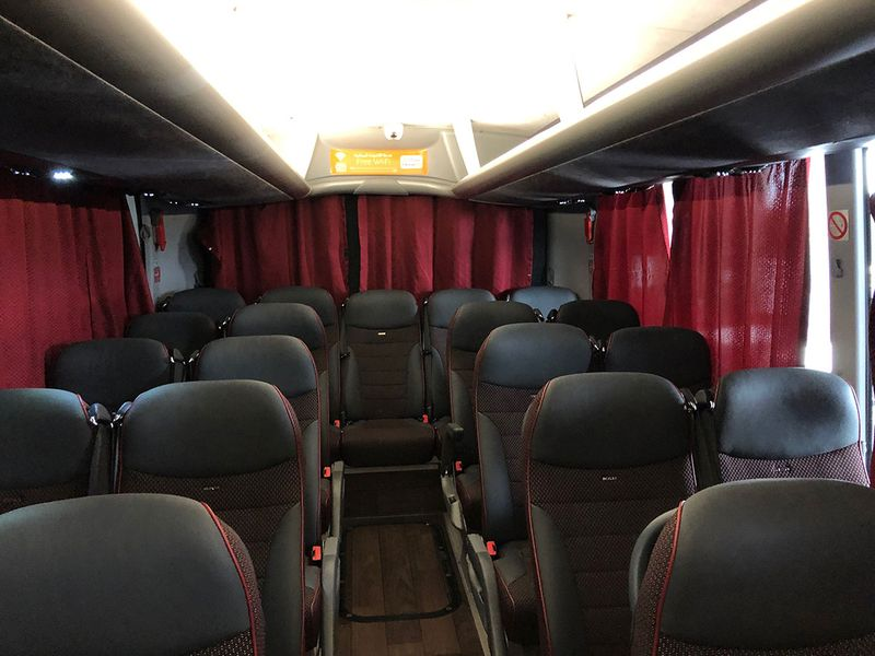 The interior of the UAE-Oman bus
