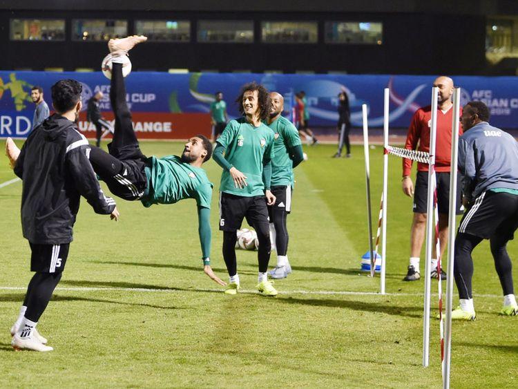 UAE football team during a training