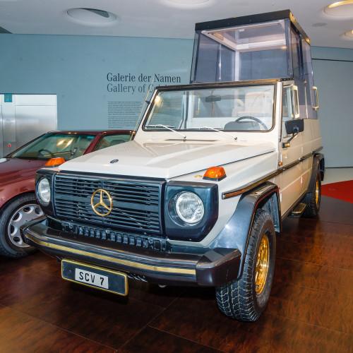 A 1980 Mercedes Popemobile,
