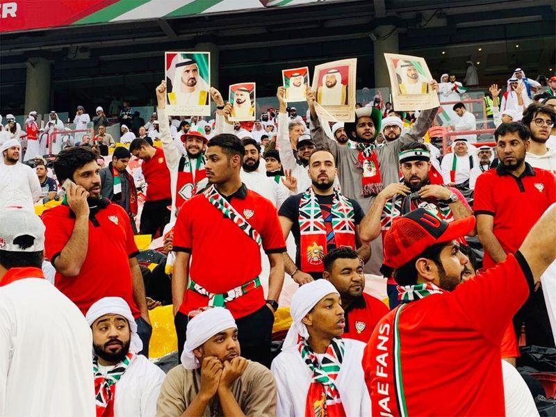 UAE football fans inside the Mohammad Bin Zayed stadium.