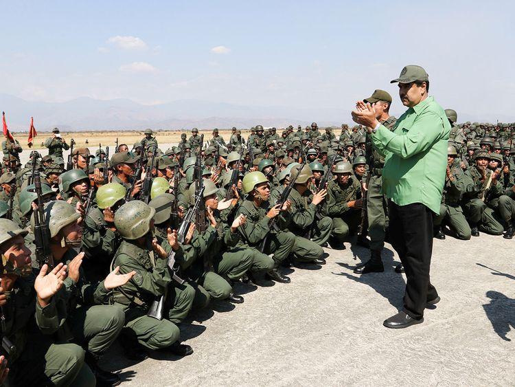 Venezuela's President Nicolas Maduro attends a military exercise