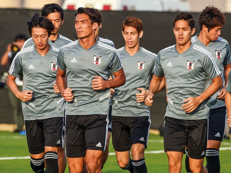 Japan players warm up