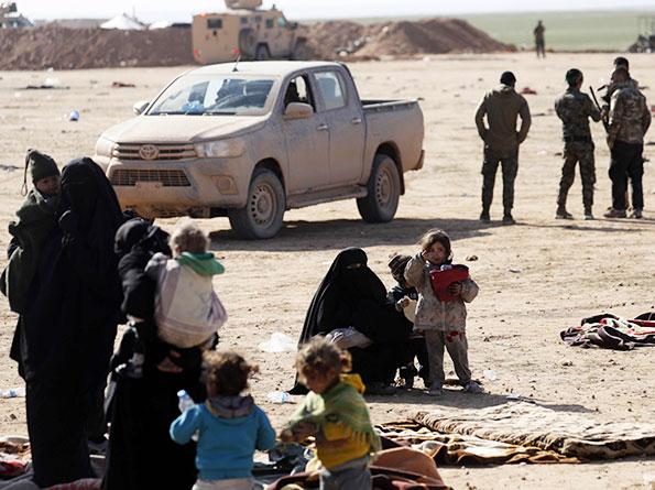 Civilians fleeing from fighting between