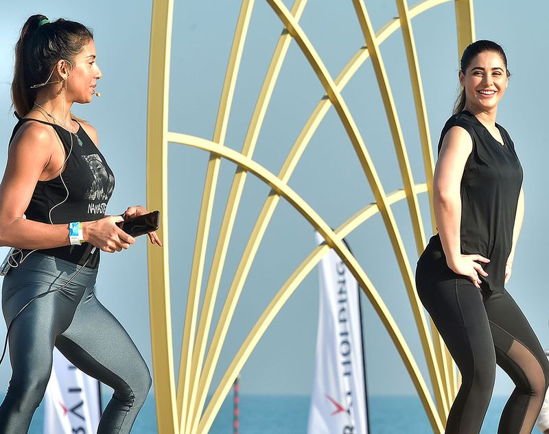 Deepika Mehta (left) and Nargis Fakhri at the Xyoga Festival