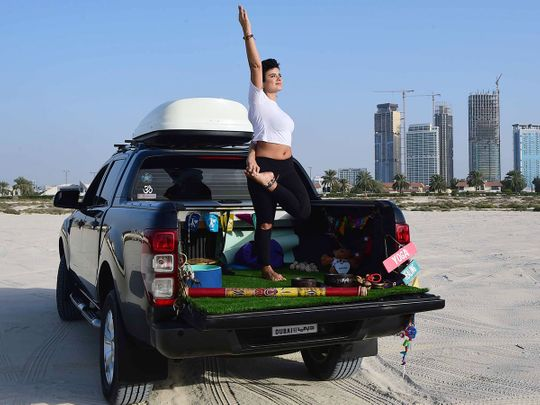 Lina Zoghaib in her Yogi Truck, a mobile studio that connects the practice of yoga and meditation to nature.