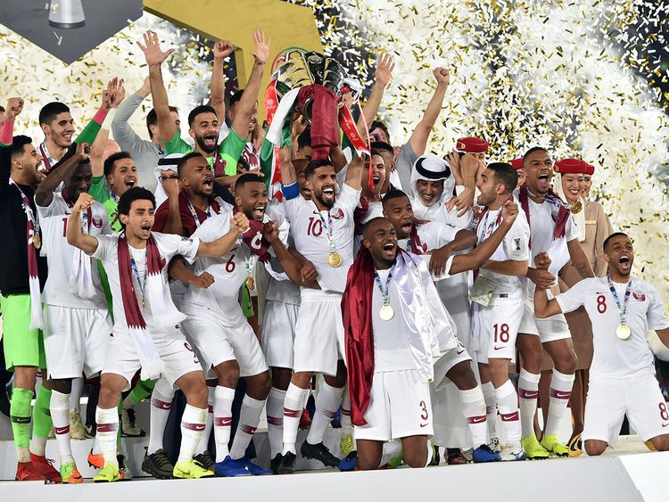 The Qatar team celebrate with their maiden AFC Asian Cup