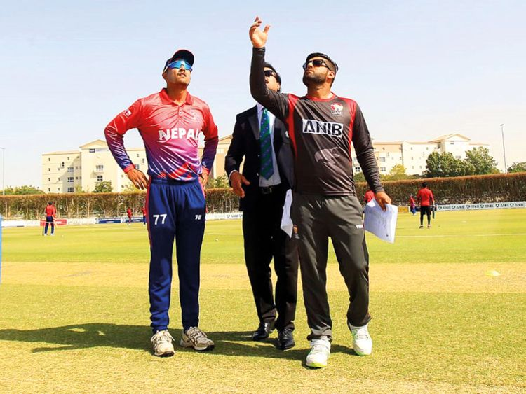 The UAE and Nepal captains during the toss