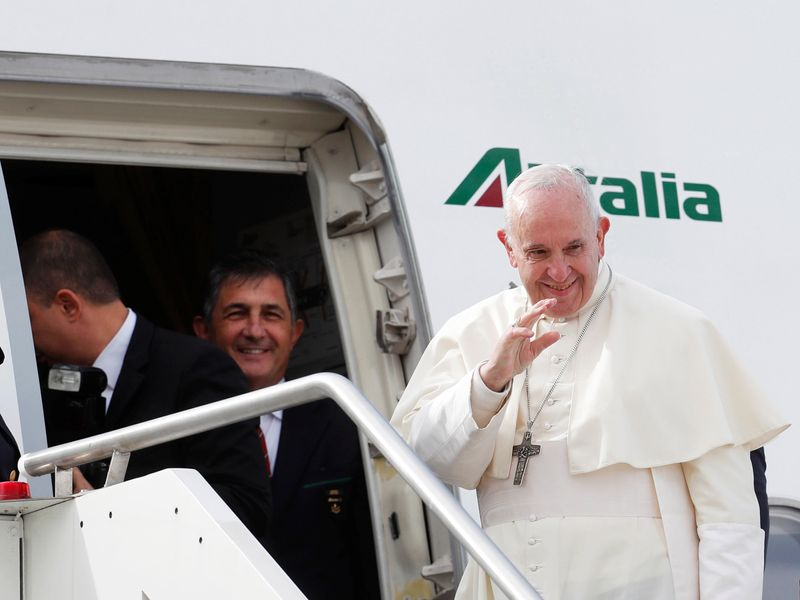 Pope Francis on board