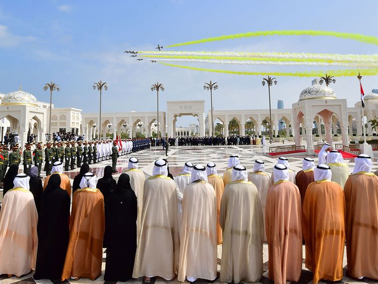 Aircraft fly over the Presidential Palace in Abu Dhabi