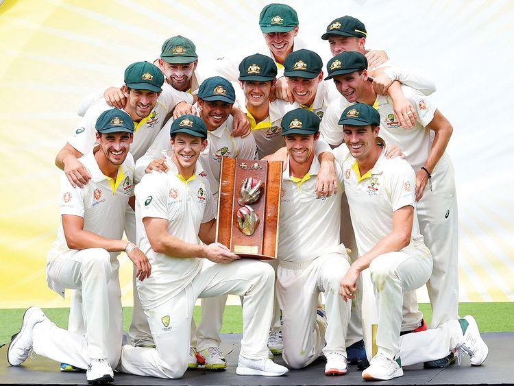 Australian players pose