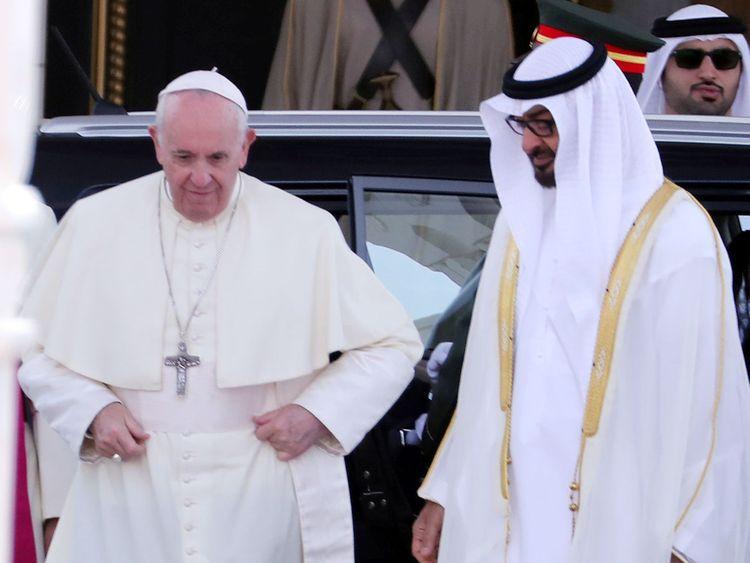 Pope Francis, along with Shaikh Mohammad Bin Zayed