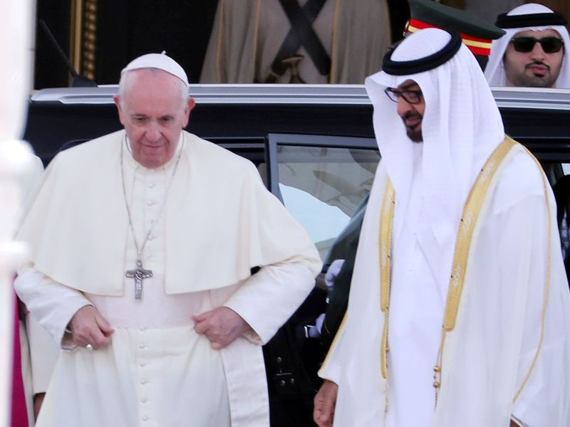 Pope Francis, along with Shaikh Mohammad Bin Zayed