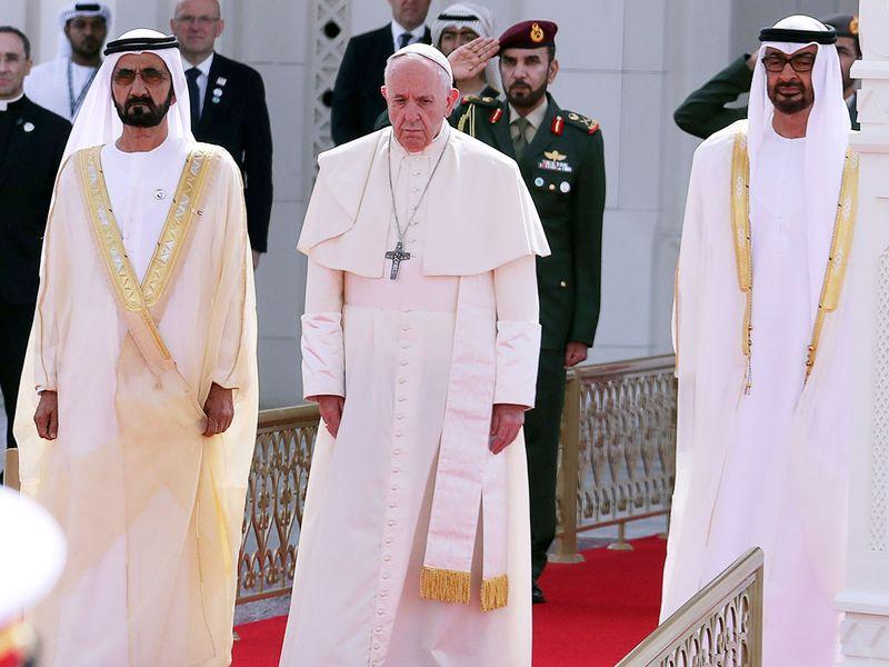 Pope Francis with Shaikh Mohammad Bin Rashid and Shaikh Mohammad Bin Zayed.