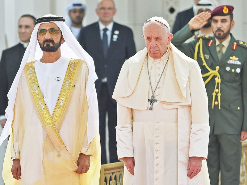 Pope Francis with Shaikh Mohammad Bin Rashid at the Presidential Palace