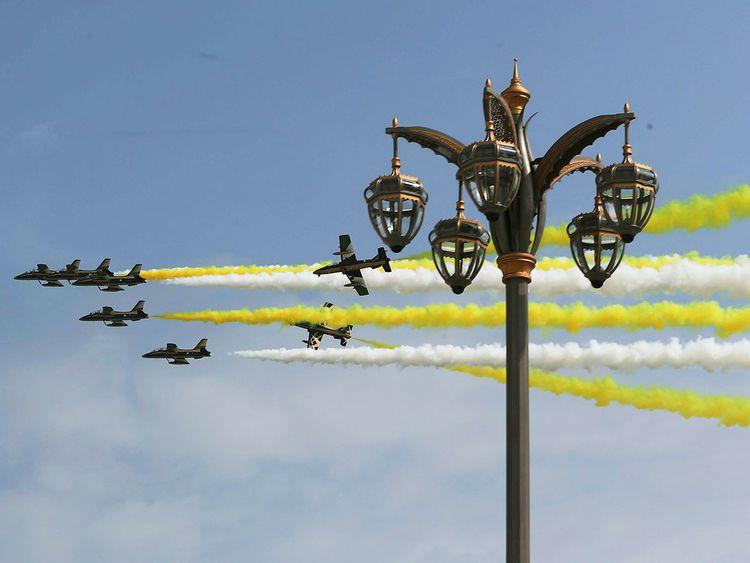 UAE Air Force aerobatic display team Al Fursan perform