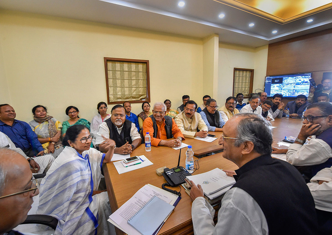 West Bengal Chief Minister Mamata Banerjee chairs a cabinet meeting