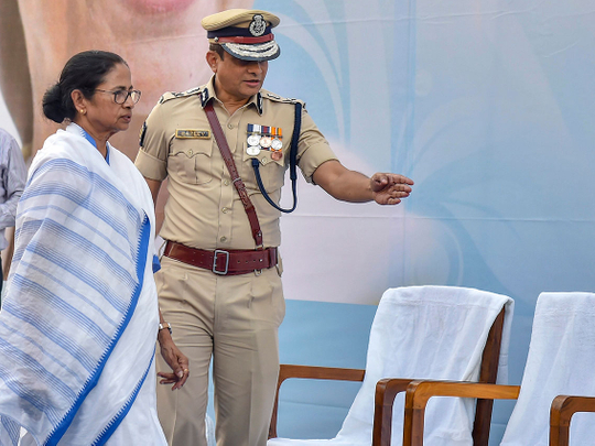 West Bengal Chief Minister Mamata Banerjee with Kolkata Police commissioner