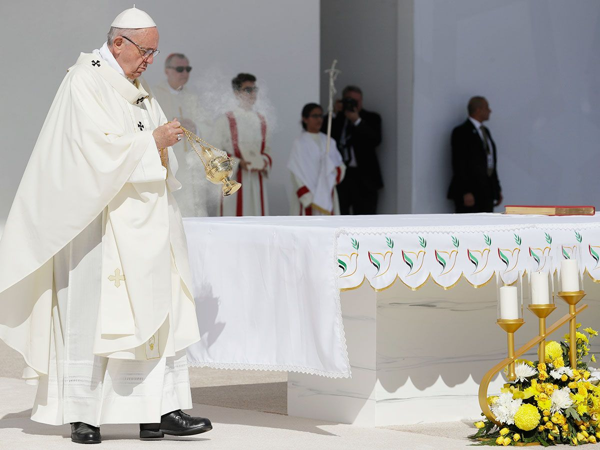 Pope Francis celebrates a mass