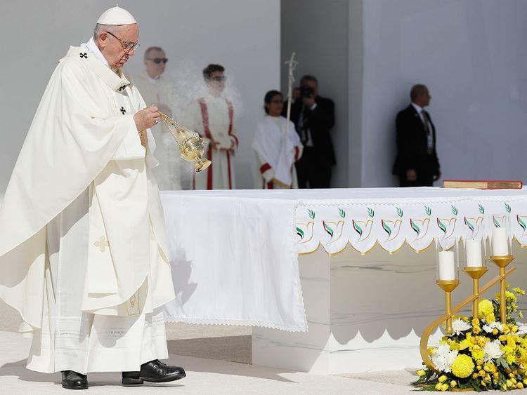 Pope Francis celebrates a mass