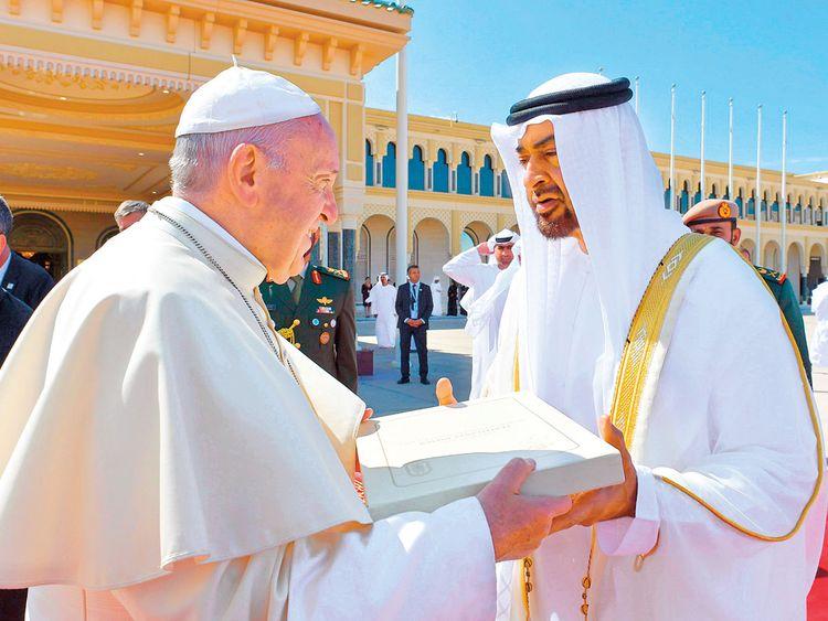 Pope Francis gifting Shaikh Mohammad Bin Zayed Al Nahyan