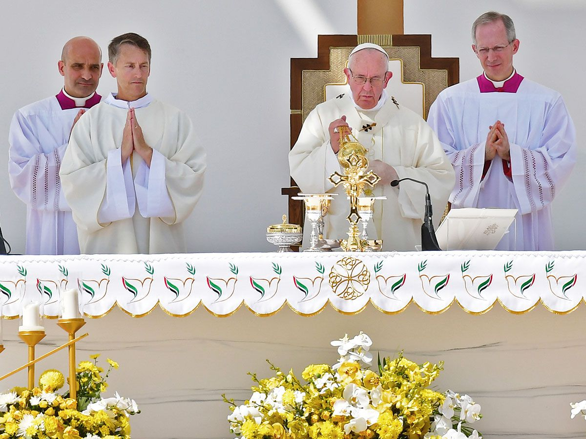 Pope Francis leads mass for the Catholics
