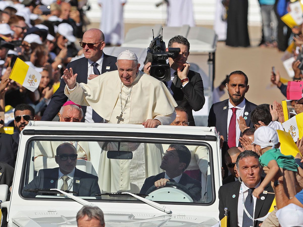 Pope Francis waves to the crowd