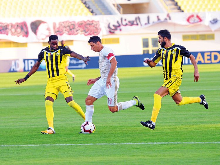 Action from the match between Al Wahda and Ittihad Kalba