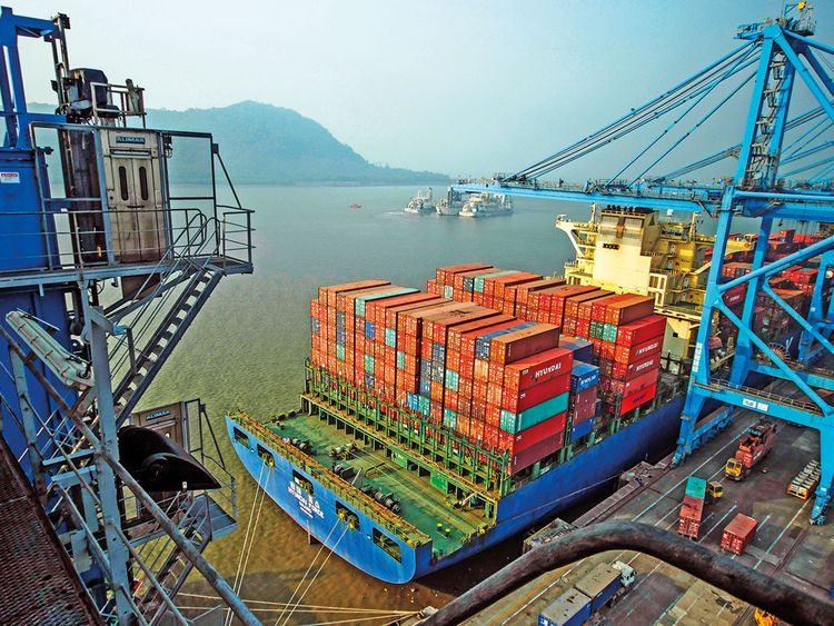 A container ship at the Jawaharlal Nehru Port in Navi Mumbai 2