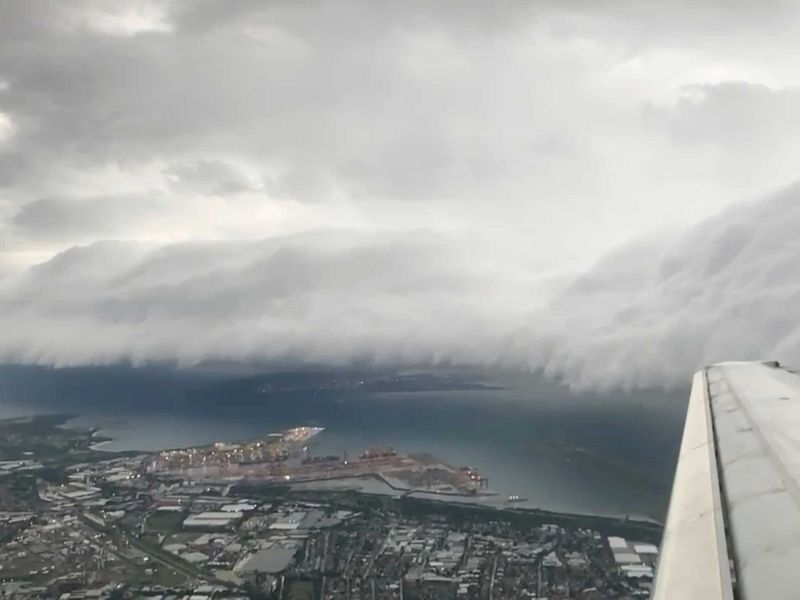 A storm cloud is seen from a plane in Sydney, Australia February 8