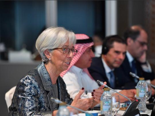 IMF Managing Director Christine Lagarde speaking at a forum in Dubai.